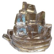 Pukeberg Sweden Solid Glass Ship Paperweight