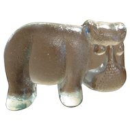 Kosta Boda Sweden Art Glass Hippo Paperweight
