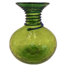 Mid Century Blenko Crackle Glass Carafe Vase Green with Blue Reeding