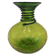 Mid Century Blenko Crackle Glass Carafe Vase Green with Blue Reeding
