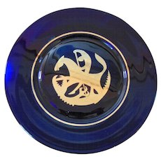 Kosta Sweden St. George and the Dragon 1972 Cobalt Annual Plate