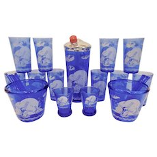 Hazel Atlas Sportsman Series Windmill Ritz Blue Bar Set