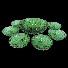 1950s Forest Green Anchor Hocking Oyster and Pearl Bowl Set