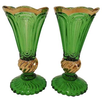 Pair 1890's Emerald Green & Gold Trim Pattern Glass Vases