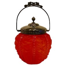 Antique Consolidated Glass Pigeon Blood Beaded Drape Biscuit Jar
