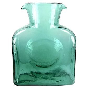 Blenko Glass Water Bottle in Seafoam Green