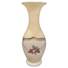 Antique Enameled Tall Bohemian Glass Vase