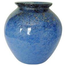 Mid Century Vasart Blue Glass Vase with Aventurine