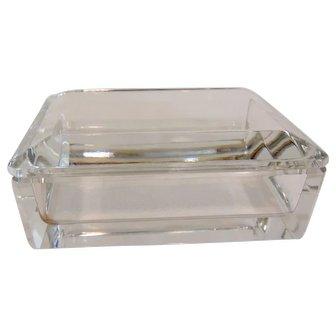 Signed Val St Lambert Crystal Trinket Box