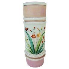 Antique Boston & Sandwich Opaline Glass Ringed Cylinder Vase