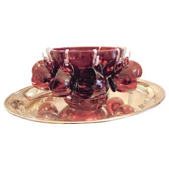 Mid Century Anchor Hocking Ruby Red Punch Bowl Set