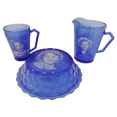 Shirley Temple Hazel Atlas Cobalt Blue Set Bowl Pitcher Mug