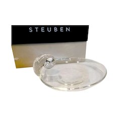 Signed Steuben Scroll Handle Tray Limited Edition