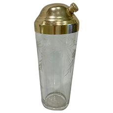 Elegant Cut And Engraved Glass Cocktail Shaker