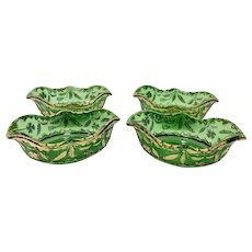 EAPG Delaware Oval Berry Bowls in Green and Gold