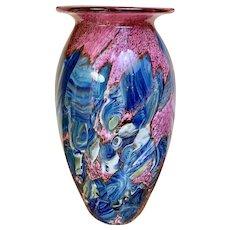 """Outstanding Signed 10"""" Eickholt  Agate Art Glass Vase"""