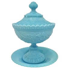 Antique Portieux Blue Milk Glass Chimera Compote w Underplate