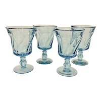 Set of 4 Fostoria Jamestown Blue Water Goblets