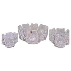 3 Lars Hellsten Orrefors Crystal Corona Bowls