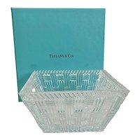 Tiffany & Co Basketweave Glass Bowl w Box & Ribbon