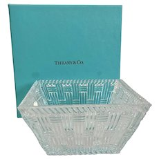 Tiffany & Co Basketweave Glass Bowl w Box & Ribbon