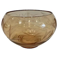 Fostoria Peach Amber Floral and Vine Engraved Bowl Vase