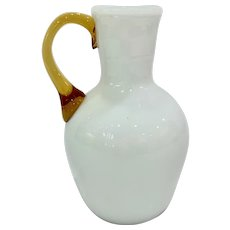 Fine Antique White Cased Glass Jug with Amber Handle