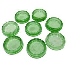 8 Hazel Atlas Green Depression Glass Furniture Coasters Gliders