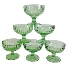 Set of 6 Green Depression Glass Sherbets