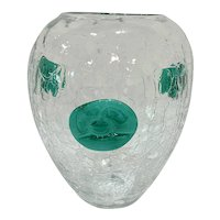 Large Mid Century Blenko Crackle Glass Vase with Applied Flowers