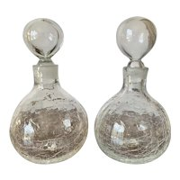 Pair of Mid Century Blenko Crackle Glass Decanters