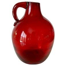 Mid Century Blenko Glass Ruby Red Jug