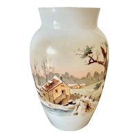 Large Antique Opaline Vase Hand Painted Winter Scene