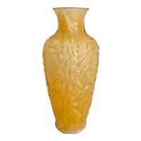 Rare Consolidated Phoenix Iridescent Amber Cased Glass Vase