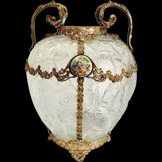 Consolidated Phoenix Satin Love Birds Vase Ormolu Mounts Medallion