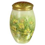 Antique Victorian Bavaria Sugar Shaker Muffineer, Yellow Flowers, Gilded Top