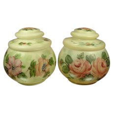 Pair Hand Painted Victorian Lidded Jars, Roses & Florals