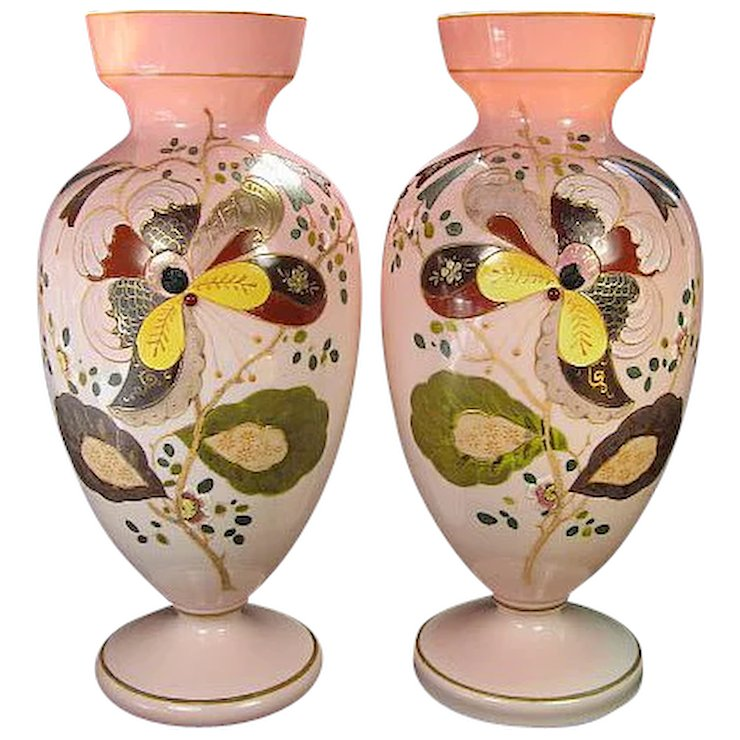 Pair Of Matching Victorian Mantle Vases With Hand Painted Enamel