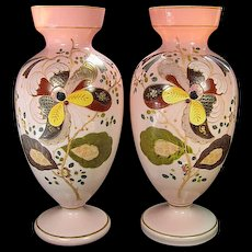 Pair of Matching Victorian Mantle Vases with Hand Painted Enamel Decoration