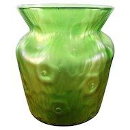 Loetz Rusticana Green Iridescent Vase