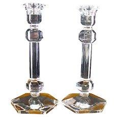 "Pair Val St Lambert 9 3/8"" Crystal Candlesticks"