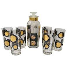 Mid Century Modern Black & Gold Coin Barware Set