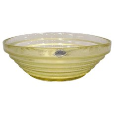 Blenko Glass Large Stepped Yellow Bowl