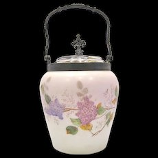 Mt. Washington Glass Biscuit Jar with Lilacs