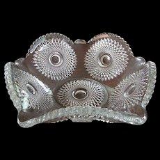 "Antique Heisey Glass Sunburst 10"" Crimped Nappy Bowl"