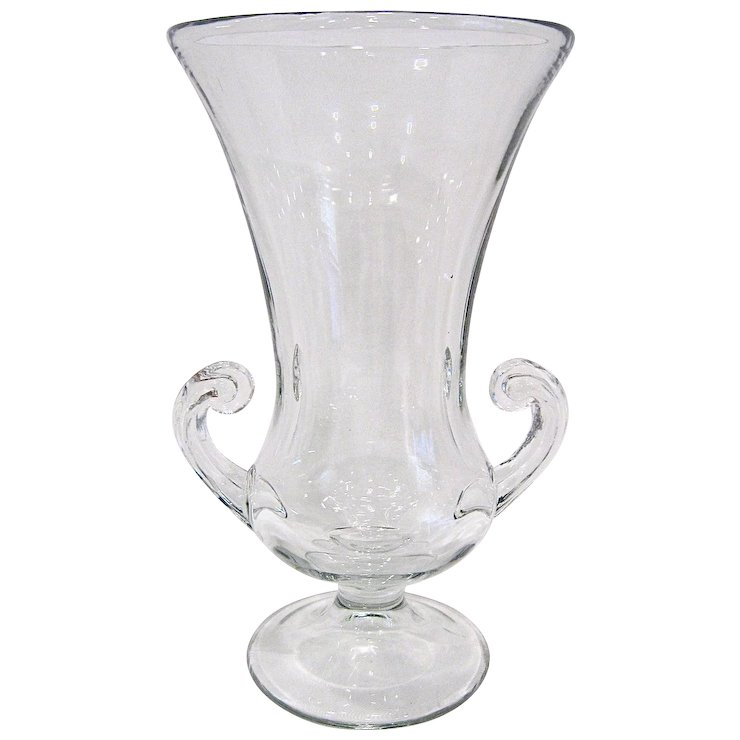 Tiffin Glass Large Trumpet Vase With Handles Antiques On Ascot