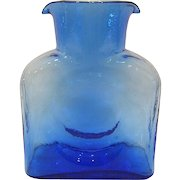 Blenko Sky Blue Glass Double Spout Water Bottle, Signed and Dated