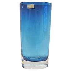 Beautiful Gral Glass Mediterranean Blue Oval Vase