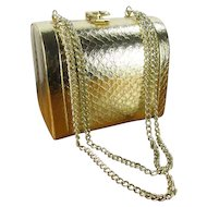 Walborg Gold Mini Doctor Bag Evening Purse