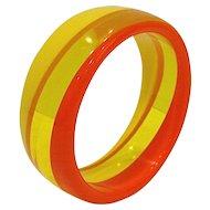 Retro Orange Yellow Lucite Bangle